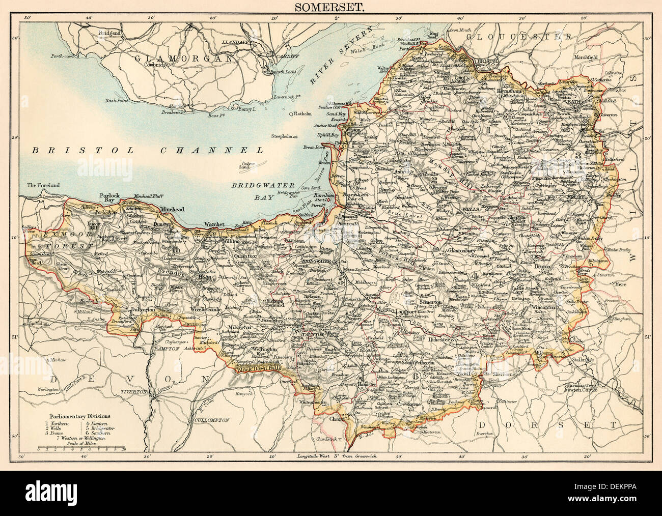 Map of Somerset England 1870s Color lithograph