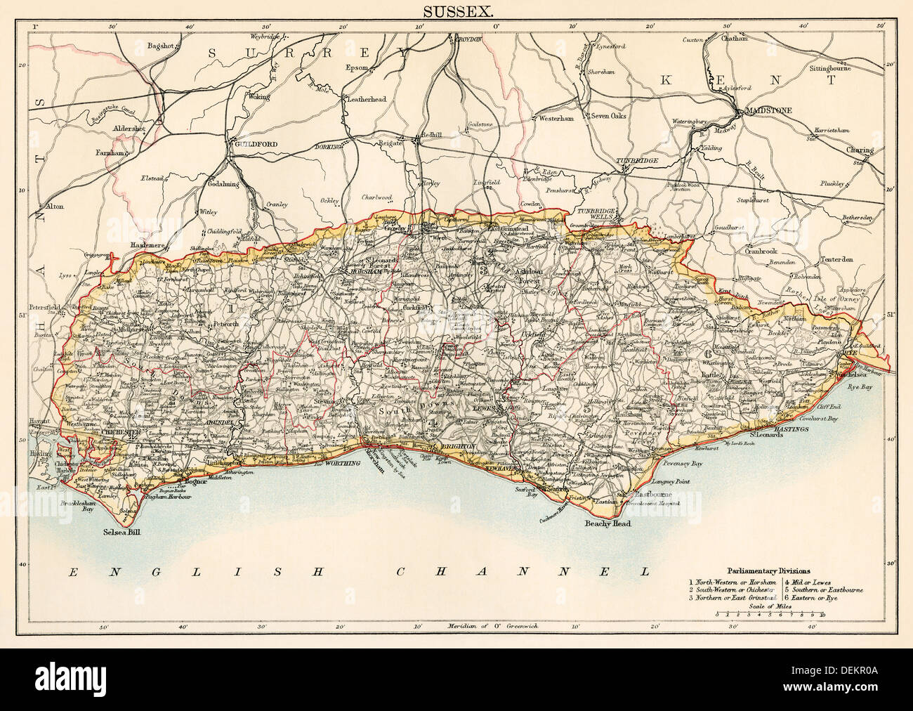 Map of Sussex, England, 1870s. Color lithograph - Stock Image