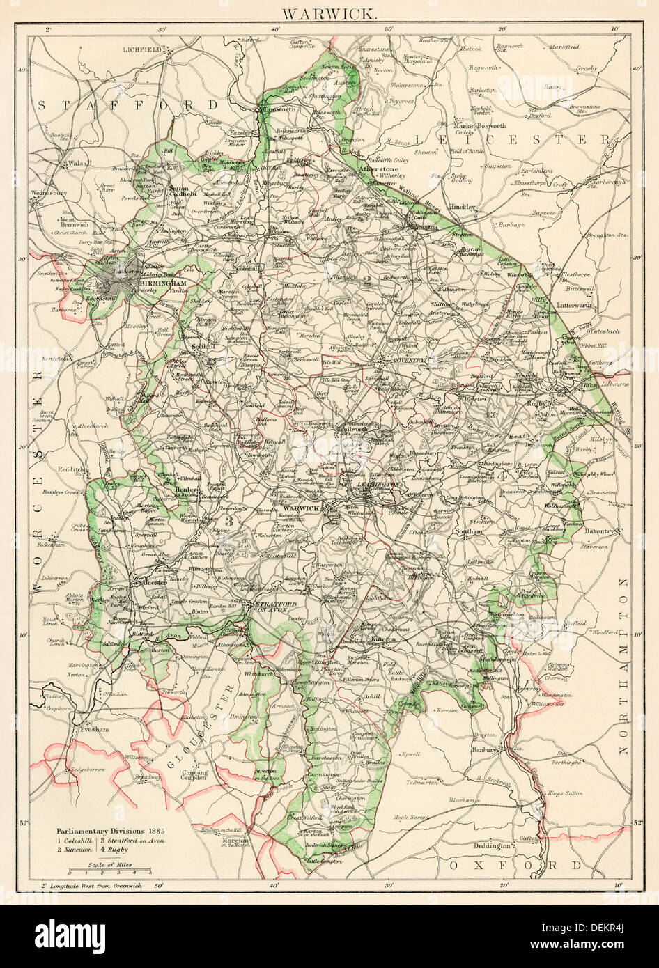 Map of Warwickshire, England, 1870s. Color lithograph - Stock Image