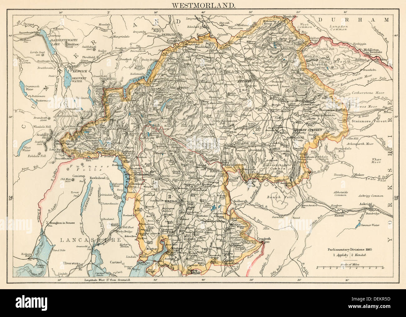 Map of Westmorland, England, 1870s. Color lithograph - Stock Image