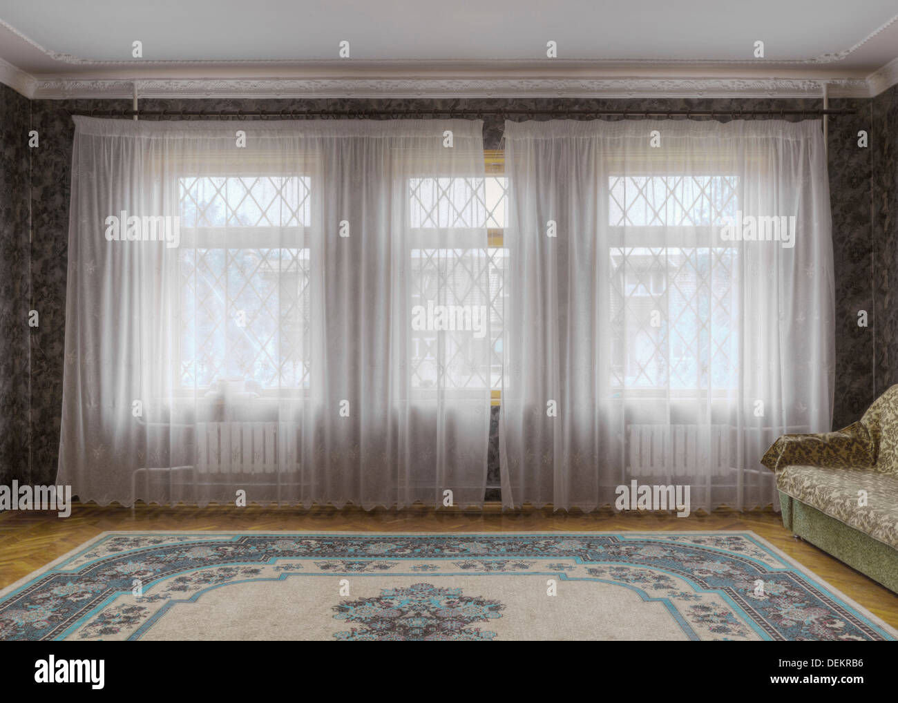 Sheer curtains in sitting room - Stock Image