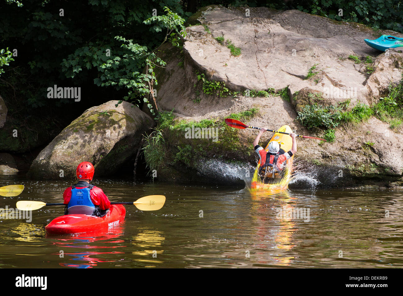 Gloucestershire tourist and travel forest of dean and Wye Valley River and Herefordshire Monmouthshire borders. canoeing canoe - Stock Image