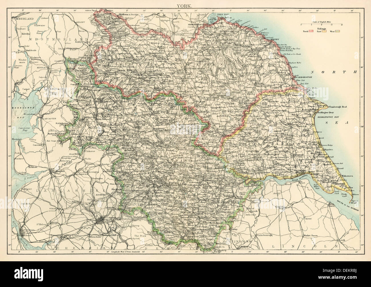 Map of Yorkshire, England, 1870s. Color lithograph - Stock Image
