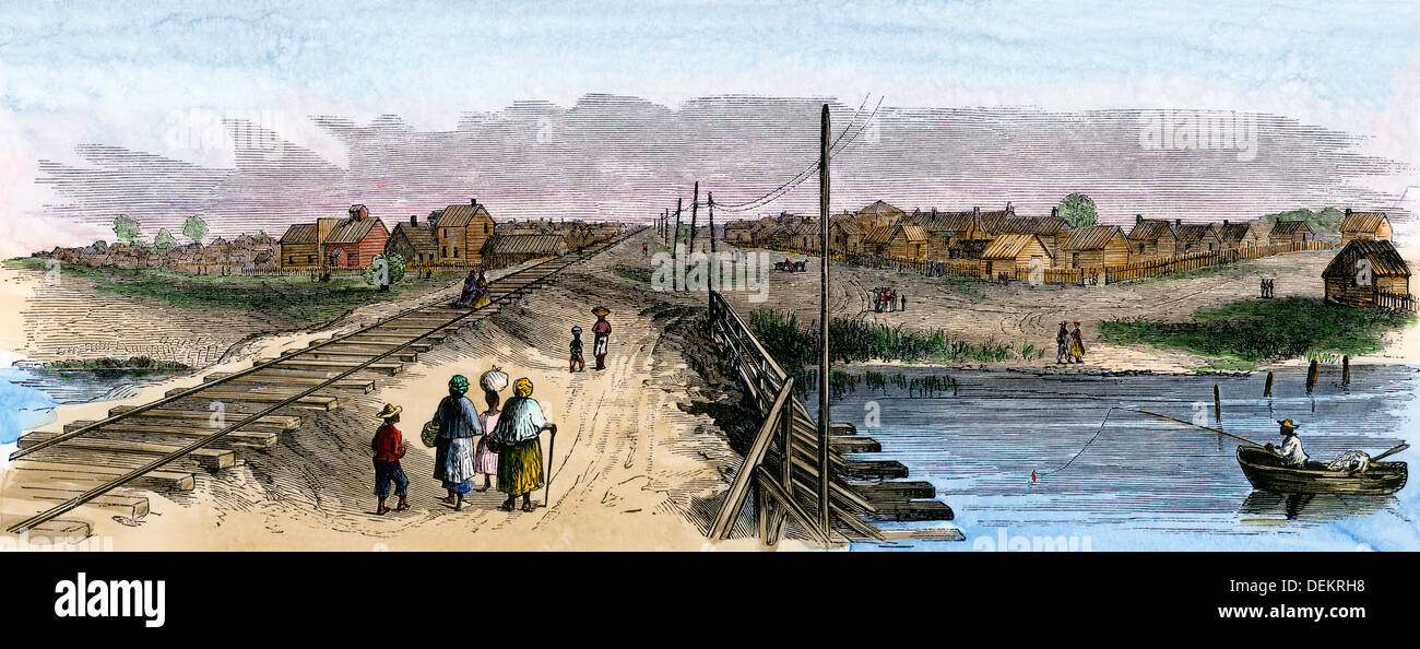 Trent River settlement of freed slaves, North Carolina, 1866. Hand-colored woodcut - Stock Image