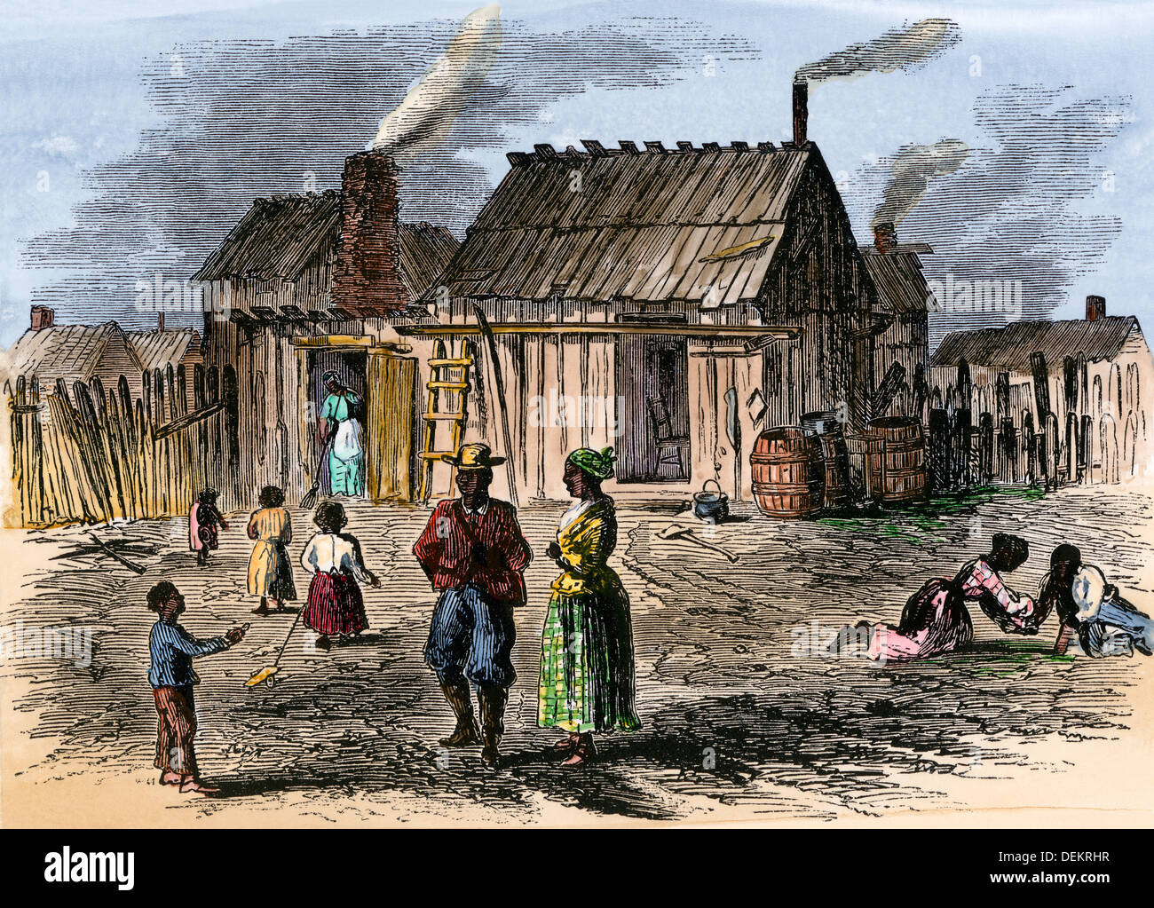 Cabins of freed slaves at Trent River settlement, North Carolina,1866. Hand-colored woodcut - Stock Image