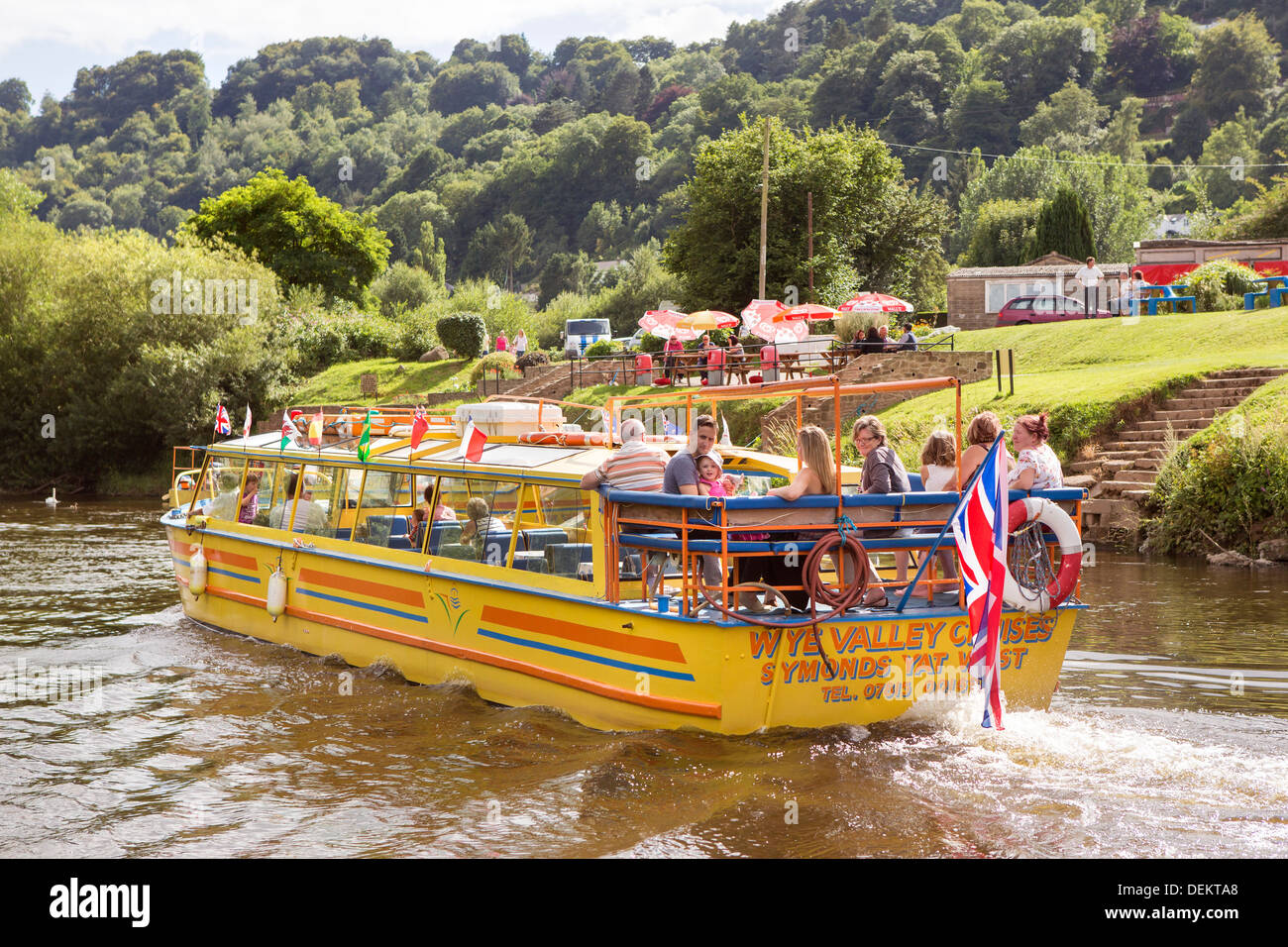 Gloucestershire tourist and travel forest of dean and Wye Valley River and Herefordshire Monmouthshire borders. River cruise. - Stock Image
