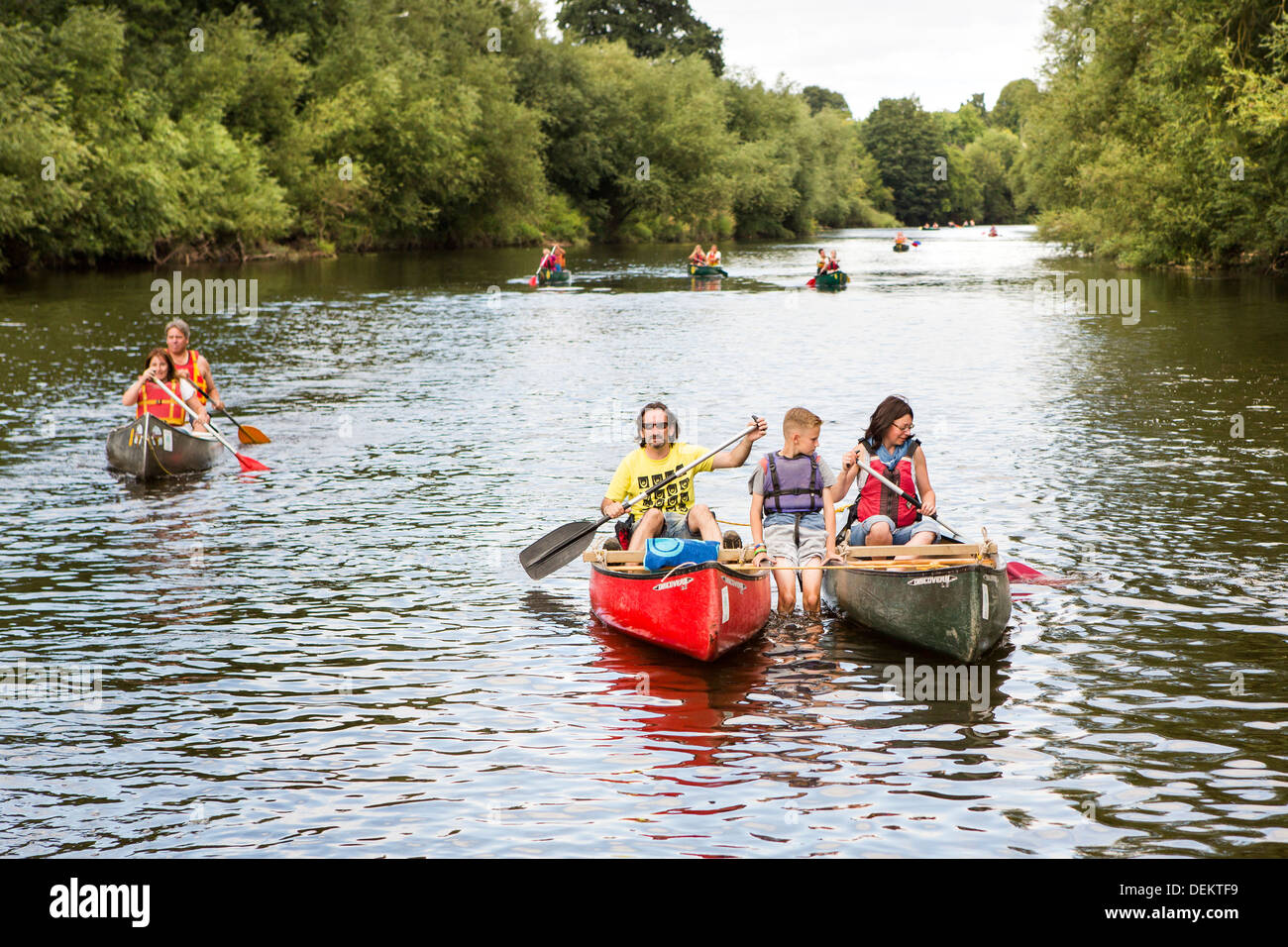 Gloucestershire tourist and travel forest of dean and Wye Valley River and Herefordshire Monmouthshire borders. kayak on river - Stock Image