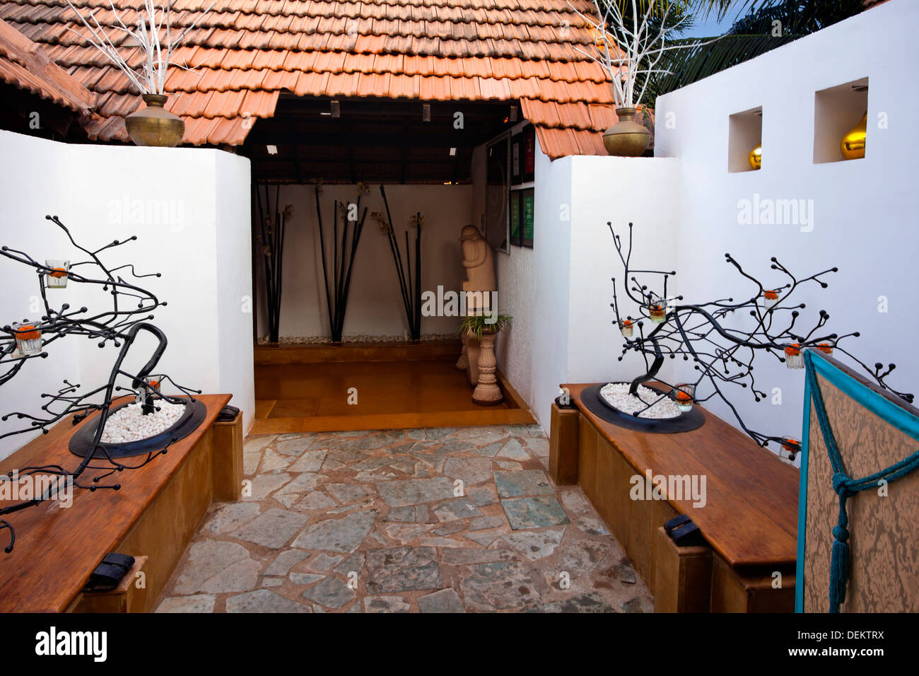 Courtyard of a restaurant, A Reverie, Calangute, North Goa, Goa, India - Stock Image
