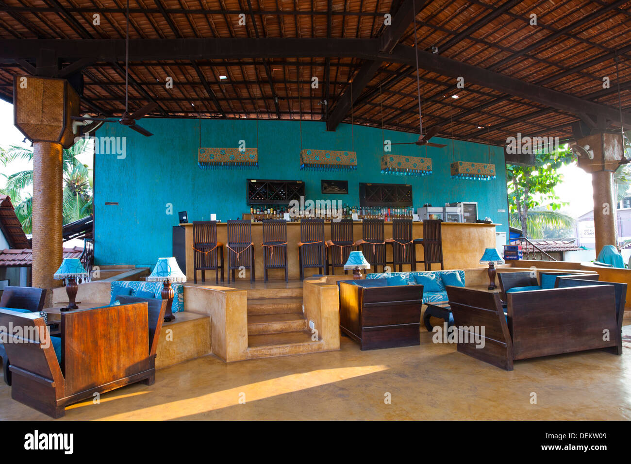 Bar counter at a restaurant, A Reverie, Calangute, North Goa, Goa, India - Stock Image