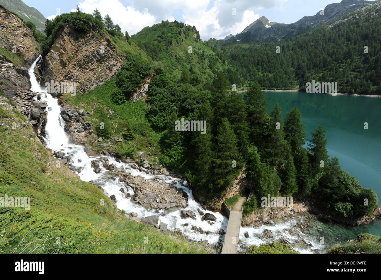 River to lake Ritom on the Swiss alps Stock Photo