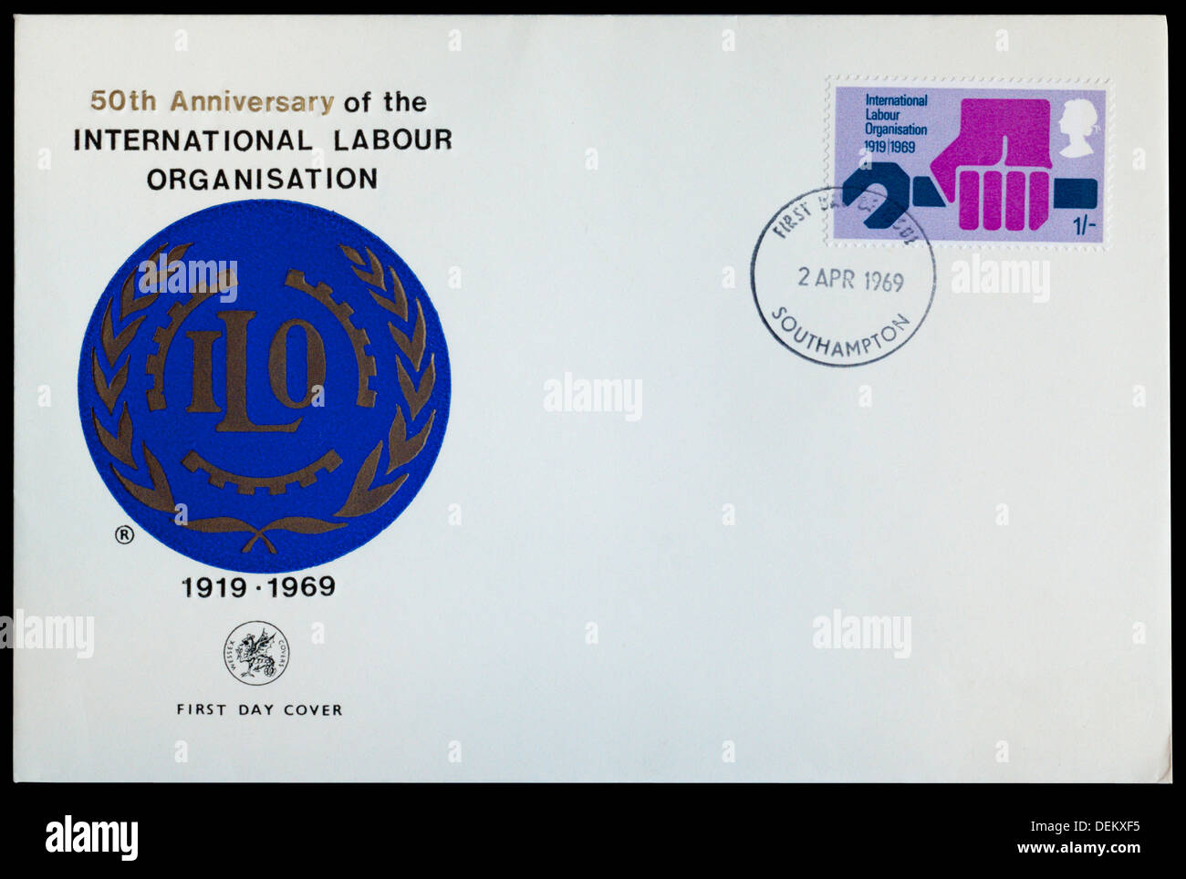 First Day Cover commemorating the 50th anniversary of the International Labour Organisation. - Stock Image