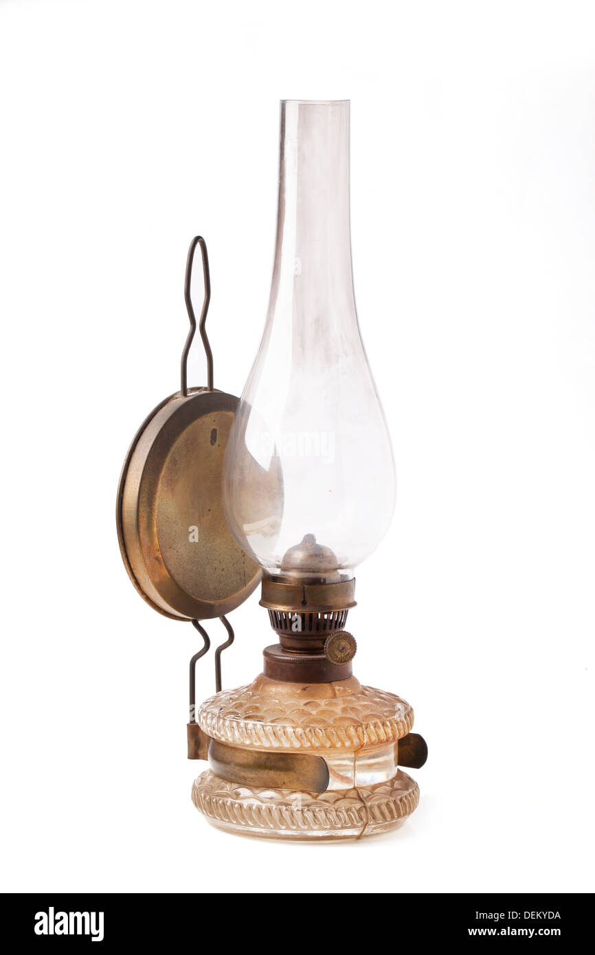 old vintage kerosene lamp isolated - Stock Image