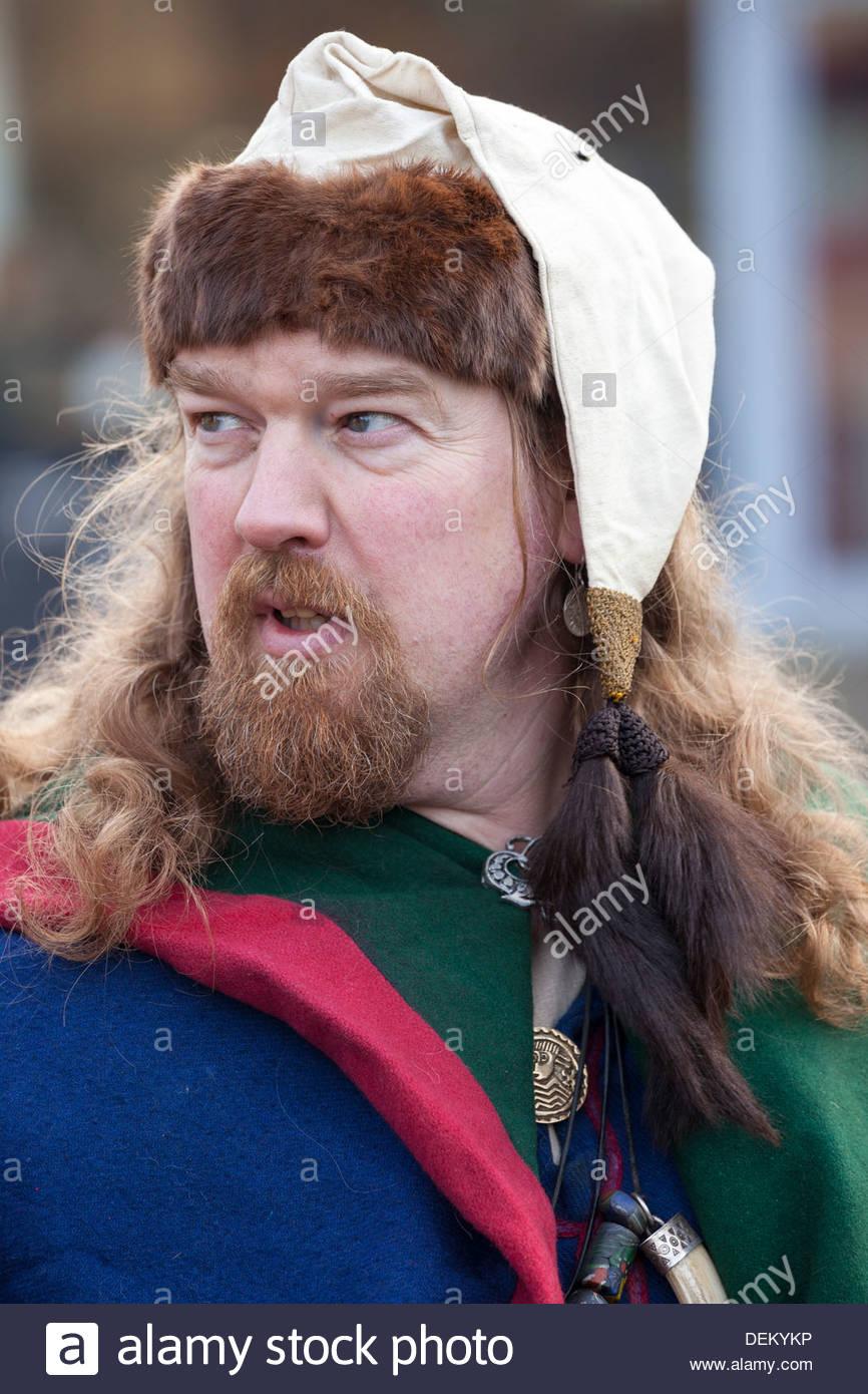 ' Merchant ' Jorvik Viking Festival encampment. York North Yorkshire England - Stock Image