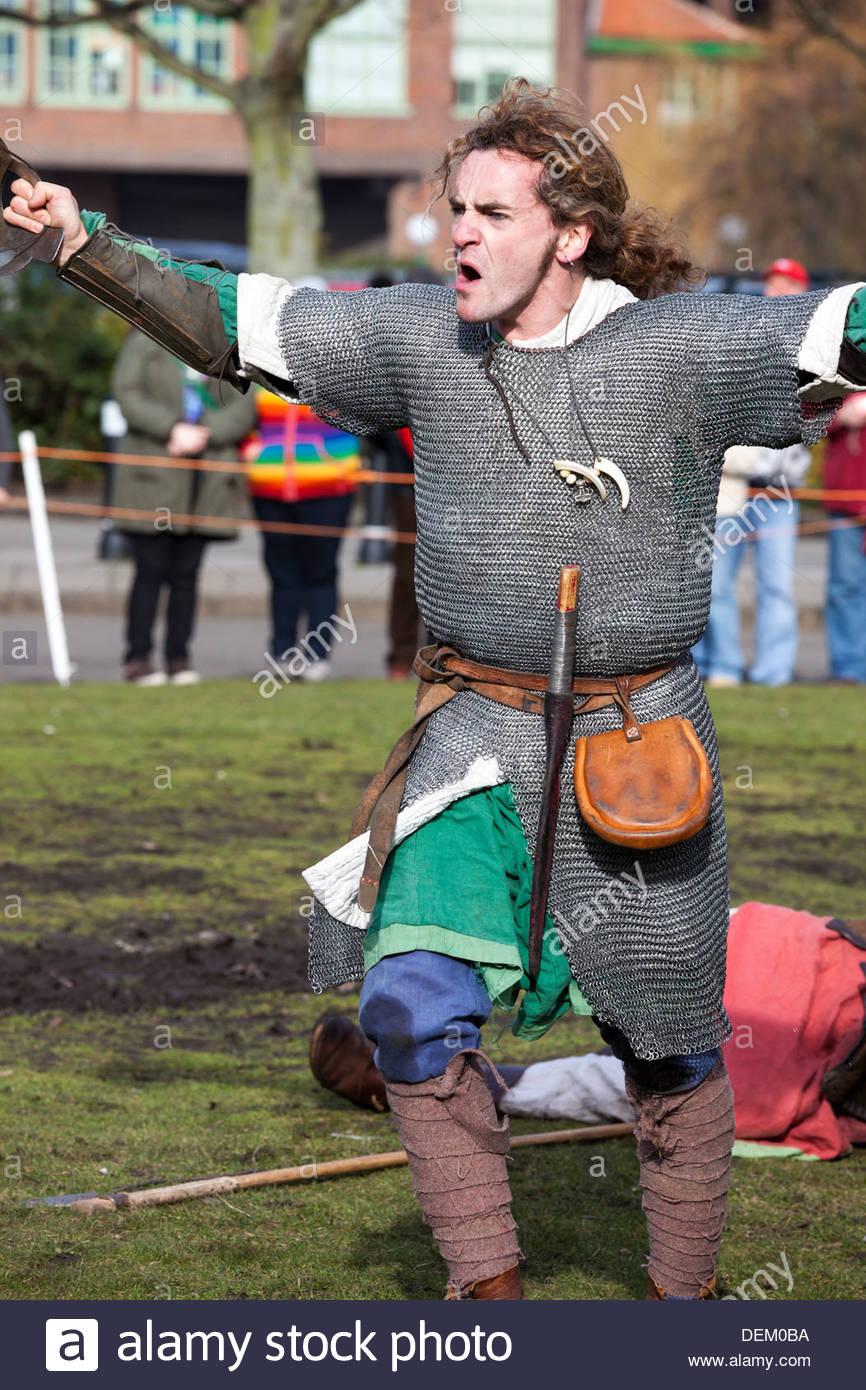 Victory celebration Jorvik Viking Festival York North Yorkshire England - Stock Image