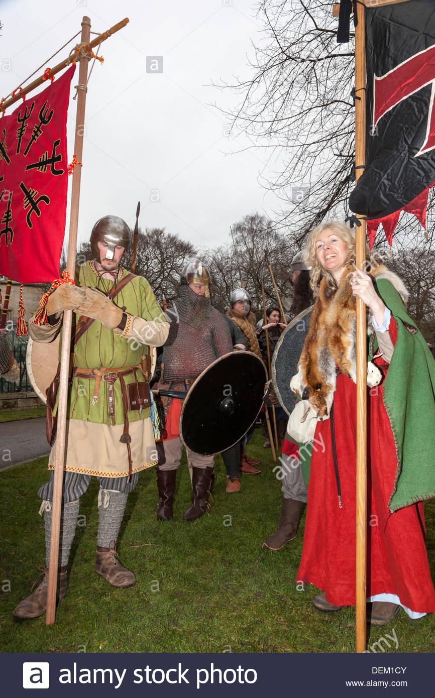 Jorvik Viking Festival . Standard-bearers . York North Yorkshire England - Stock Image