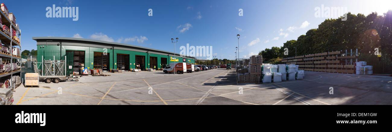 Panorama of builders merchants warehouse and yard - Stock Image