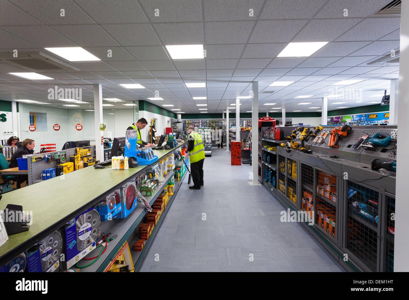 sales counter in Travis Perkins Builders Merchants shop - Stock Image