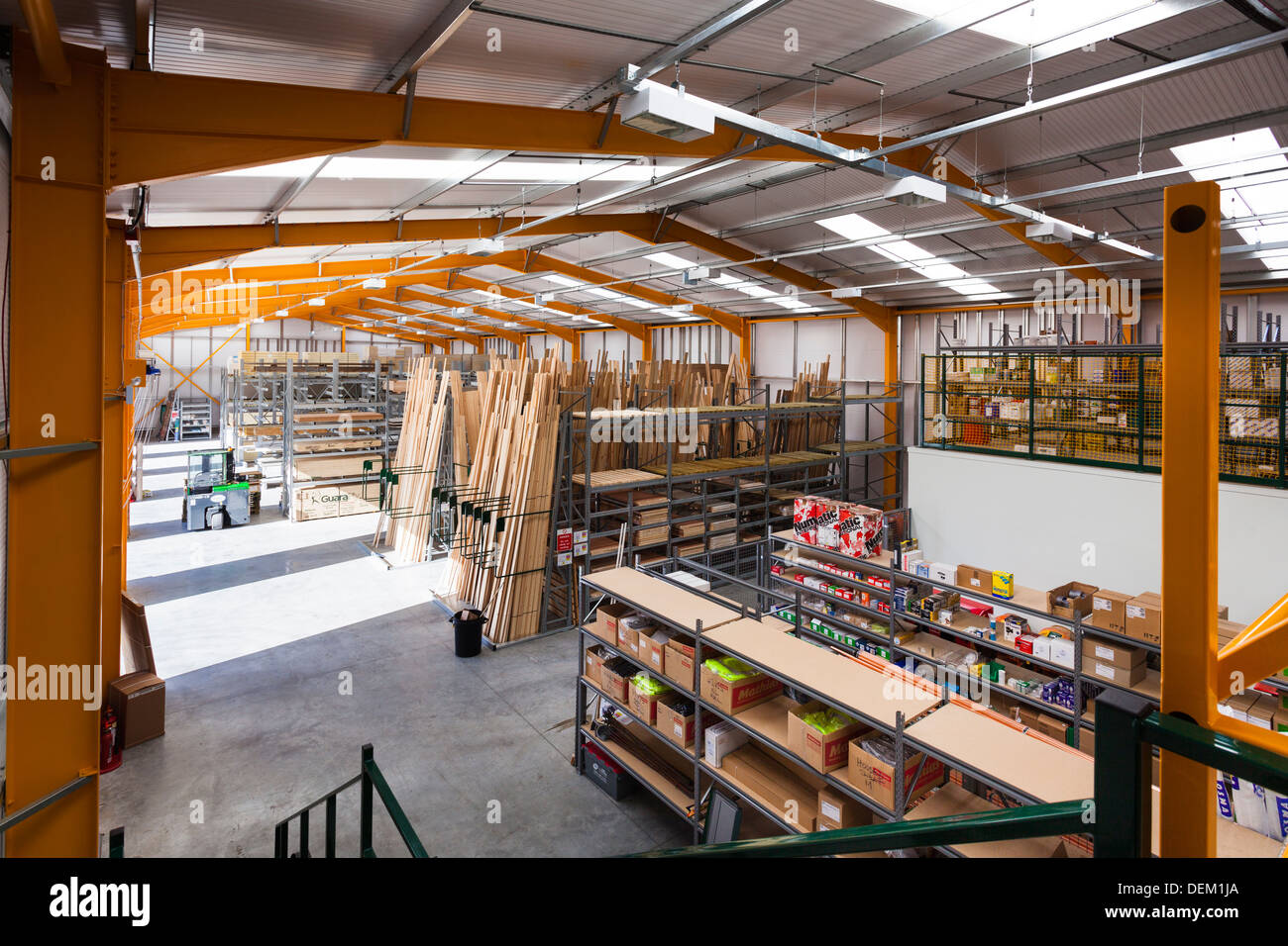 Warehouse interior of Travis Perkins builders merchants. - Stock Image