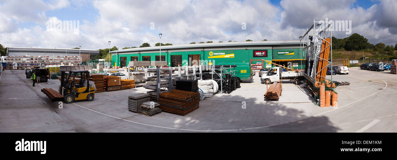panorama of builders yard and warehouse Travis Perkins Builders Merchants - Stock Image