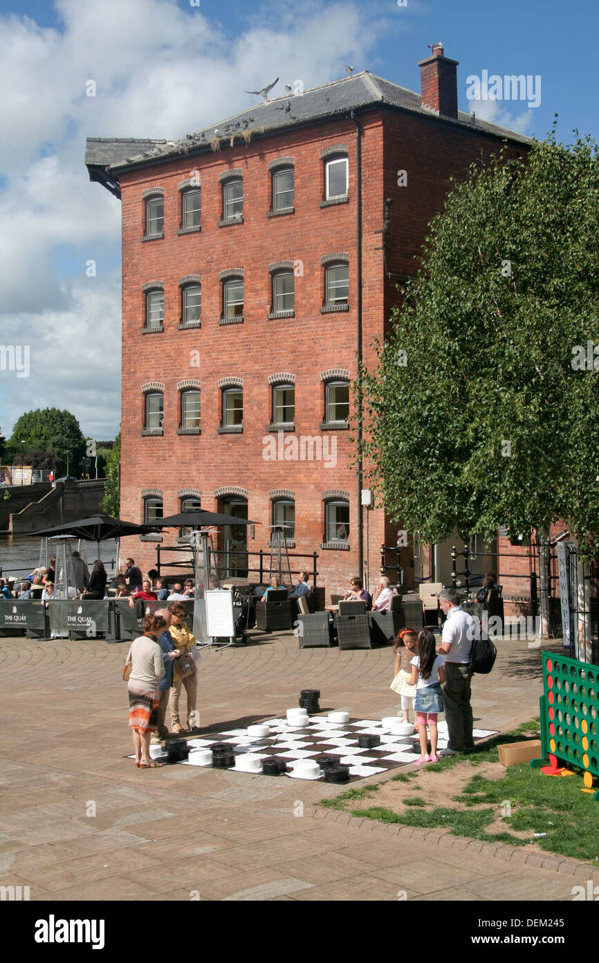 Outside draughts board Worcester Festival Worcestershire England UK - Stock Image