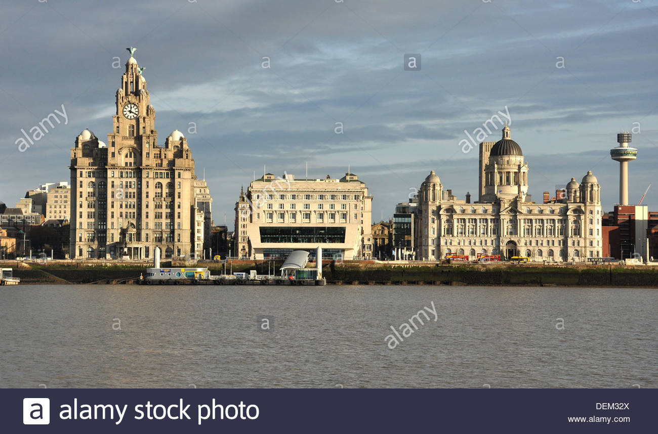 The Three Graces on the banks of the River Mersey at Liverpool. - Stock Image