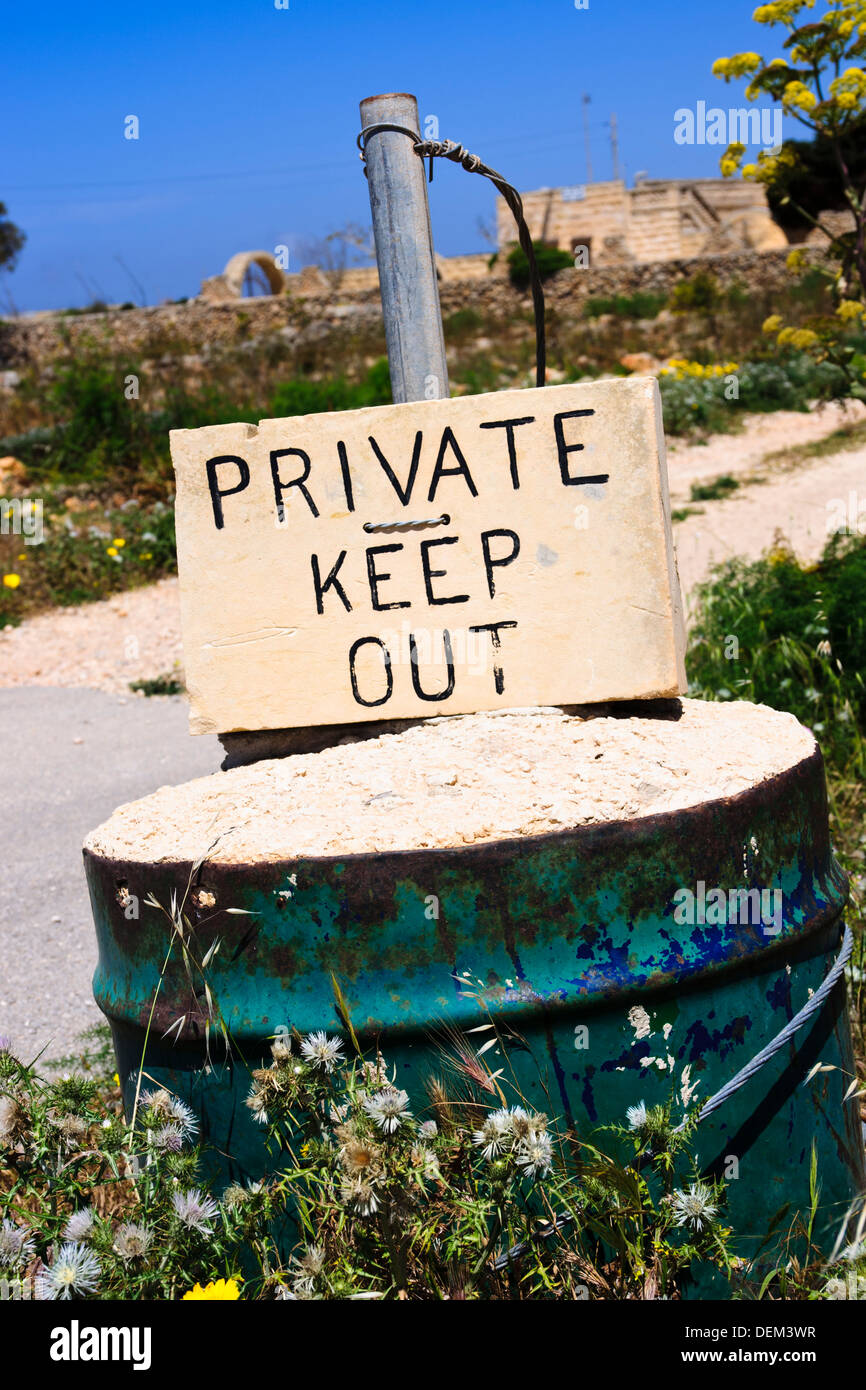 Sign 'Private Keep Out' - Stock Image