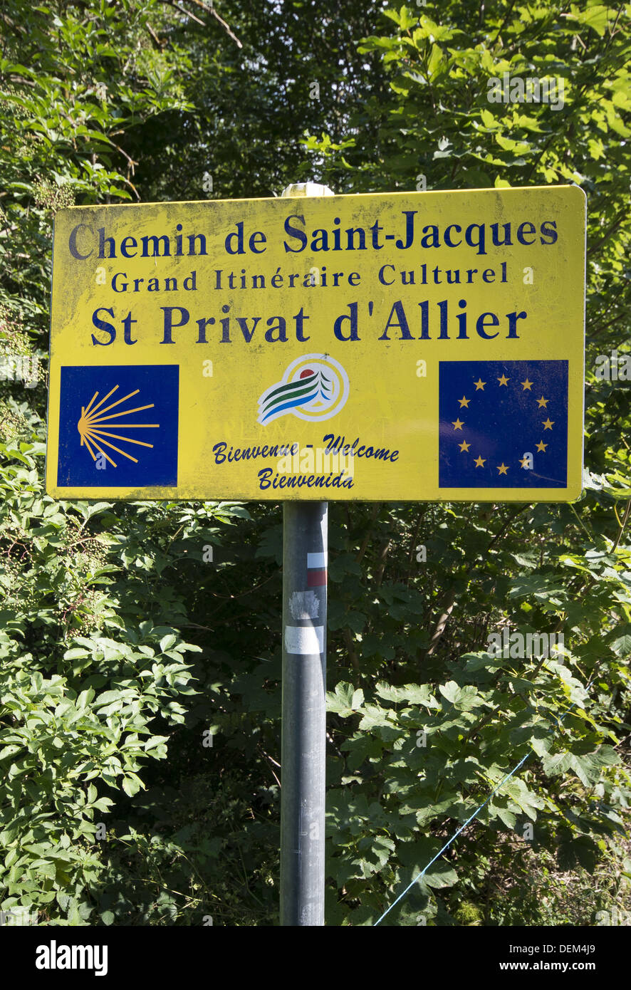 Village sign in St-Privat-d'Allier on the GR65 route, The way of St James, France - Stock Image