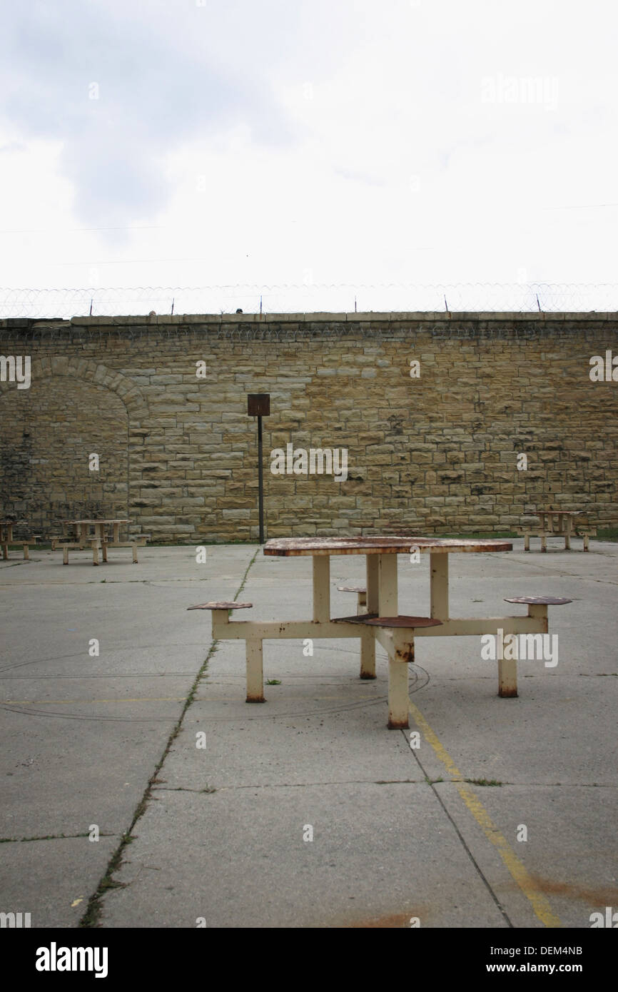 Outdoor Prison Courtyard and Sitting Area - Stock Image