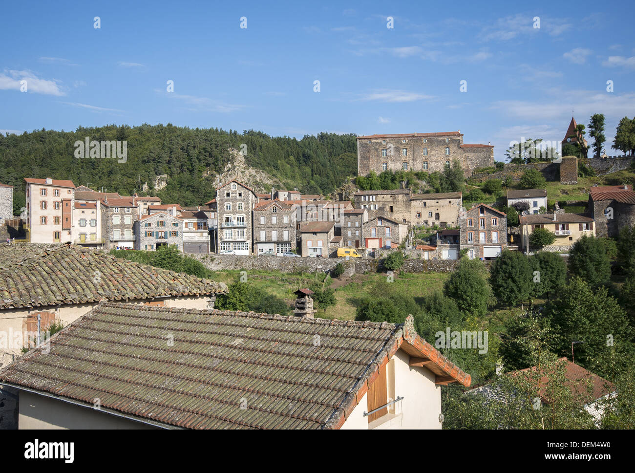 The picturesque village of St-Privat-d'Allier on the GR65 route, The way of St James, France - Stock Image