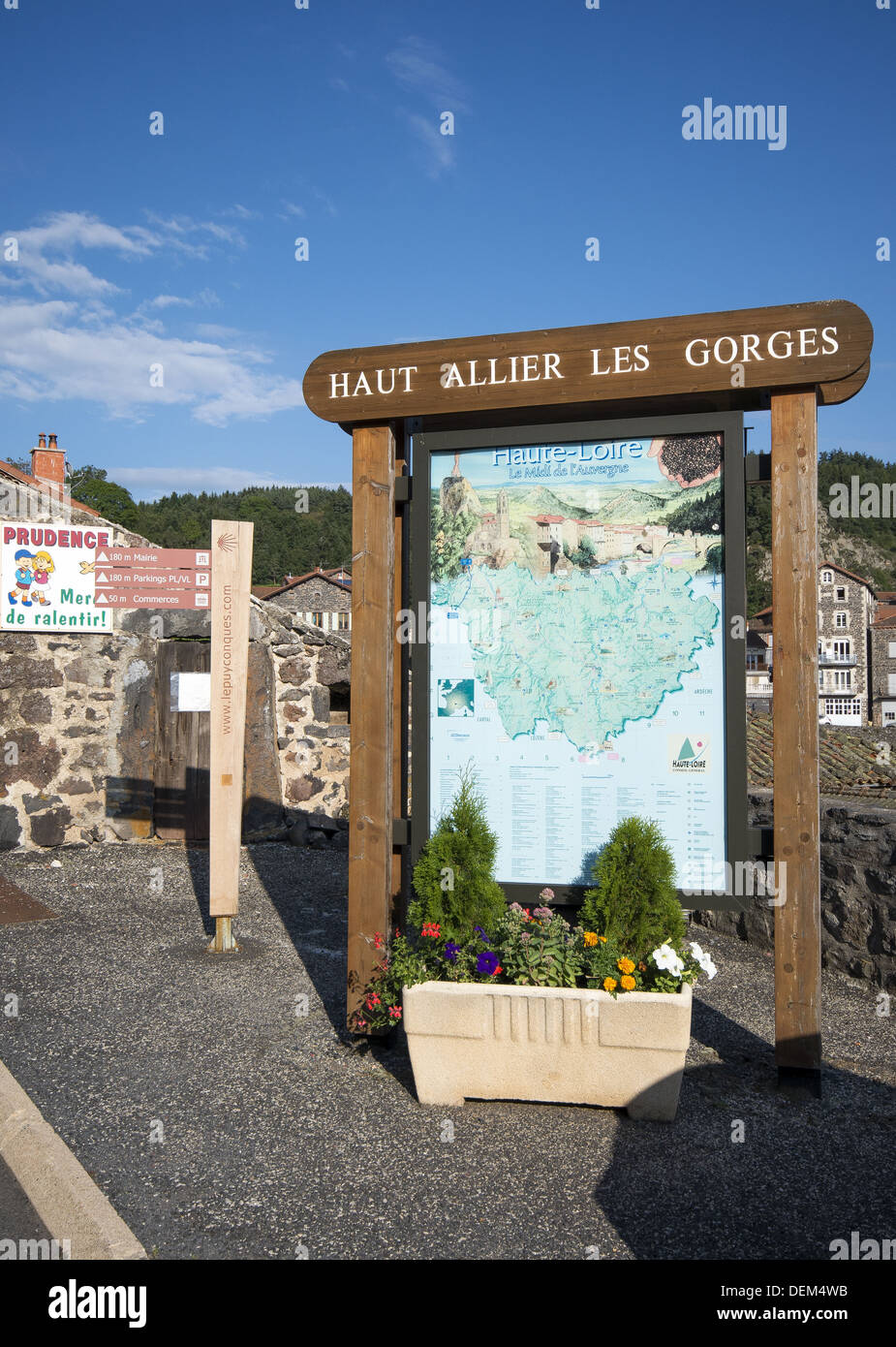 Information board on the Haut Allier Les Gorges in St-Privat-d'Allier on the GR65 route, The way of St James, France - Stock Image