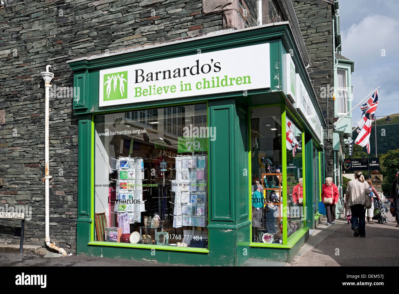 Bernardo's charity shop Keswick Cumbria England UK United Kingdom GB Great Britain - Stock Image