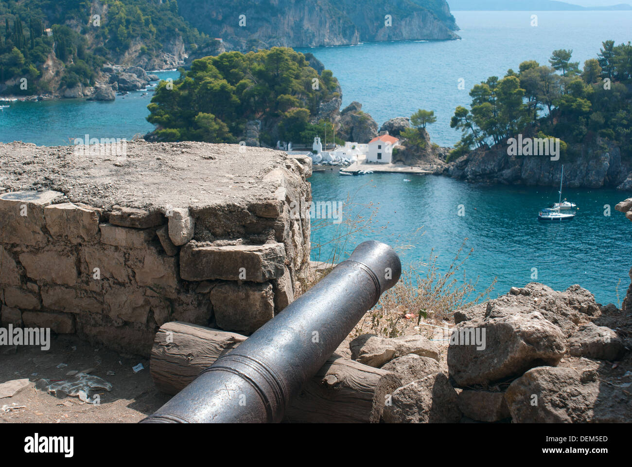 Famous castle of Templar knights at Nafplion in Greece - Stock Image