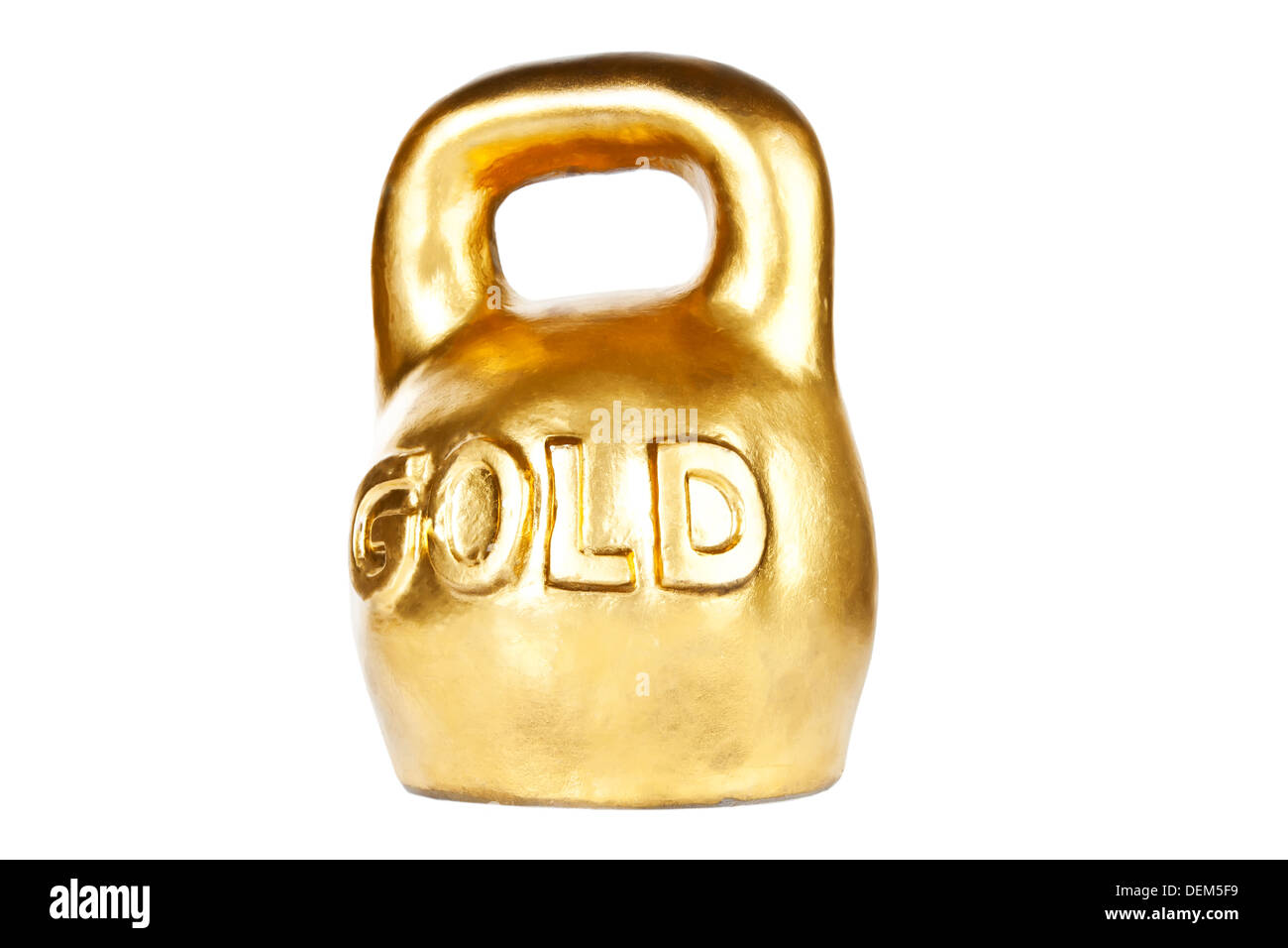 Golden kettebell isolated on white - Stock Image