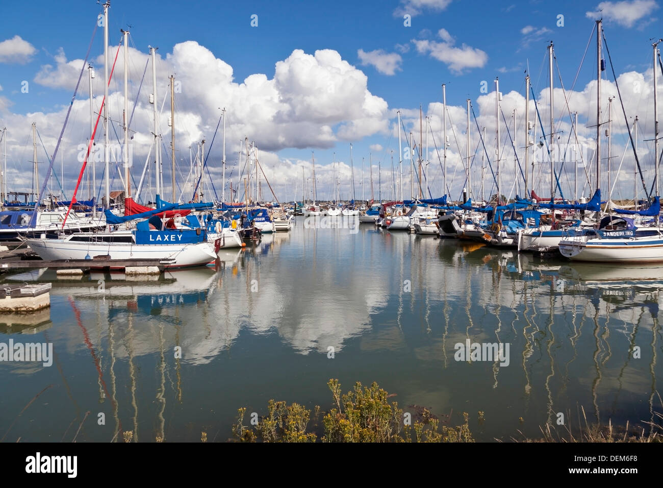 Boat moored at Tollesbury marina, Essex, England - Stock Image