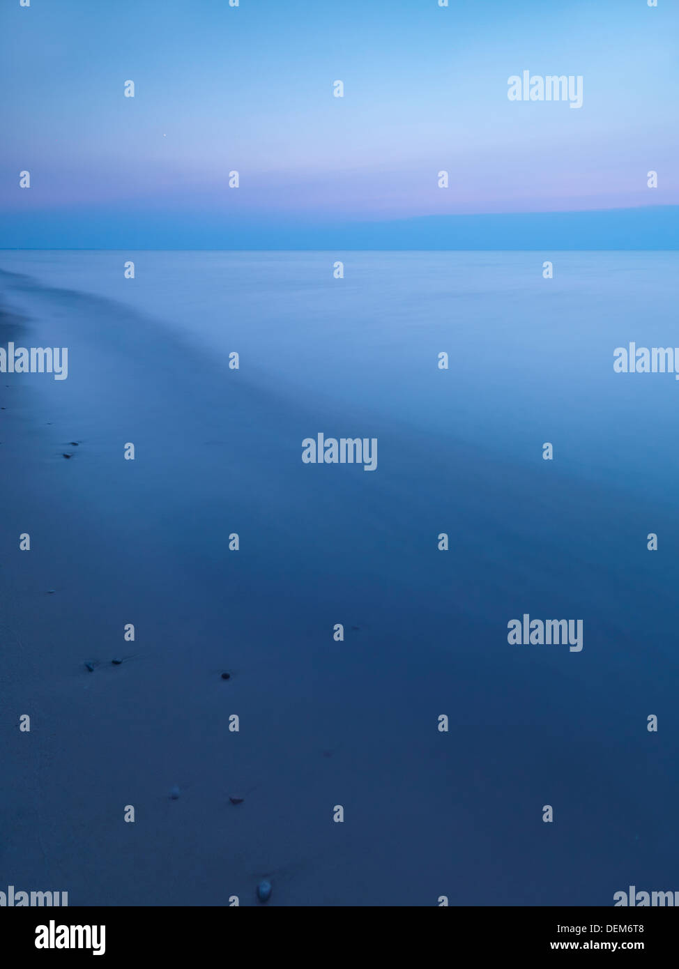 Calm tranquil twilight scenery of lake Huron, Ontario, Canada. - Stock Image
