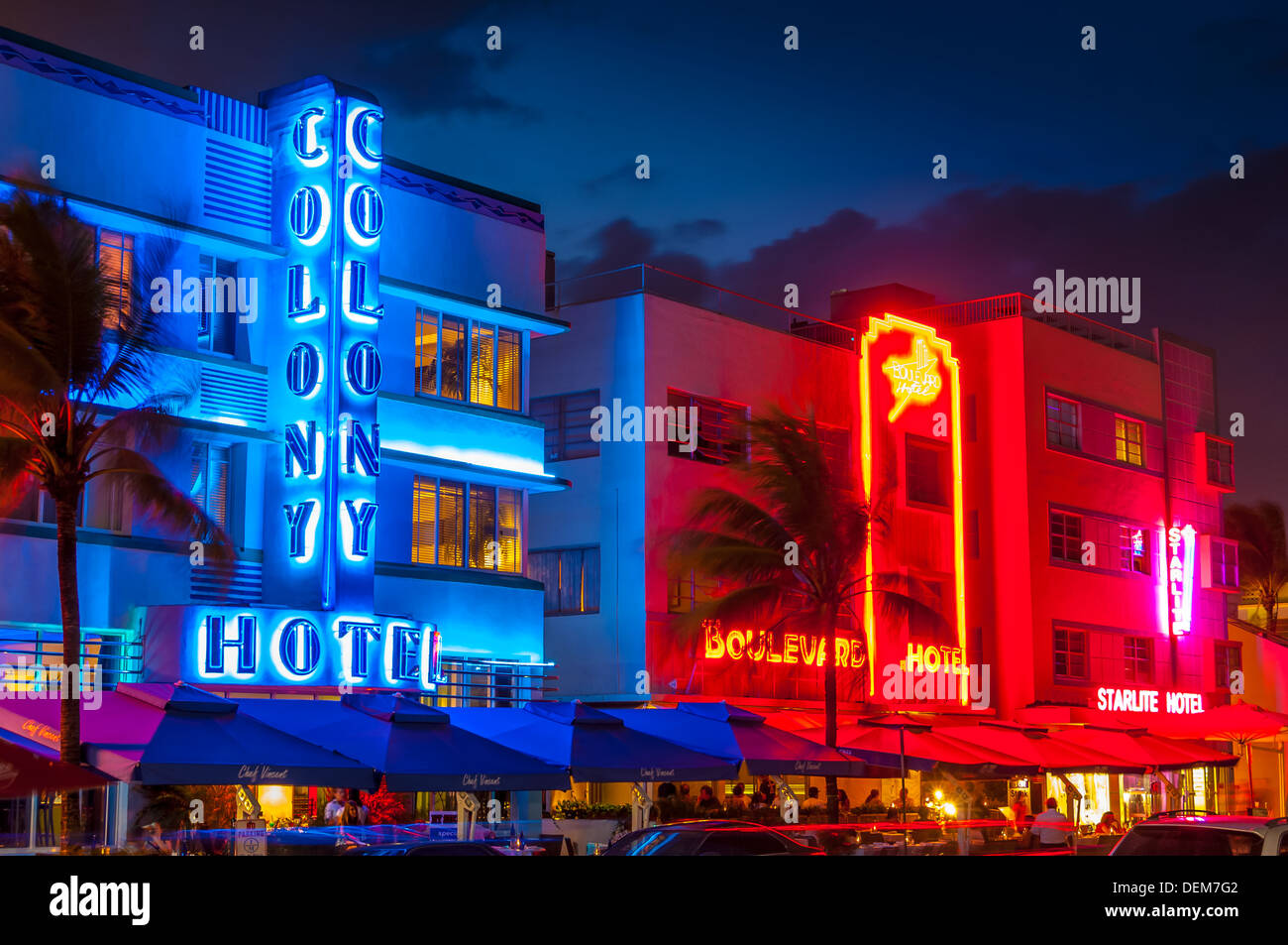 colony hotel,boulevard hotel,ocean drive, south beach, miami,florida,usa - Stock Image