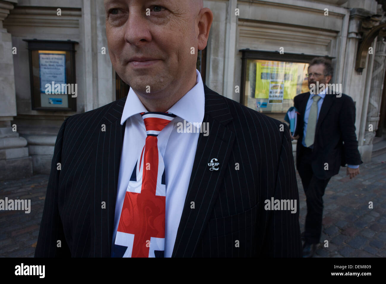 A Union jack tie and political pin portrait of UKIP (UK Independence Party) member from Aylesbury Vale District Stock Photo