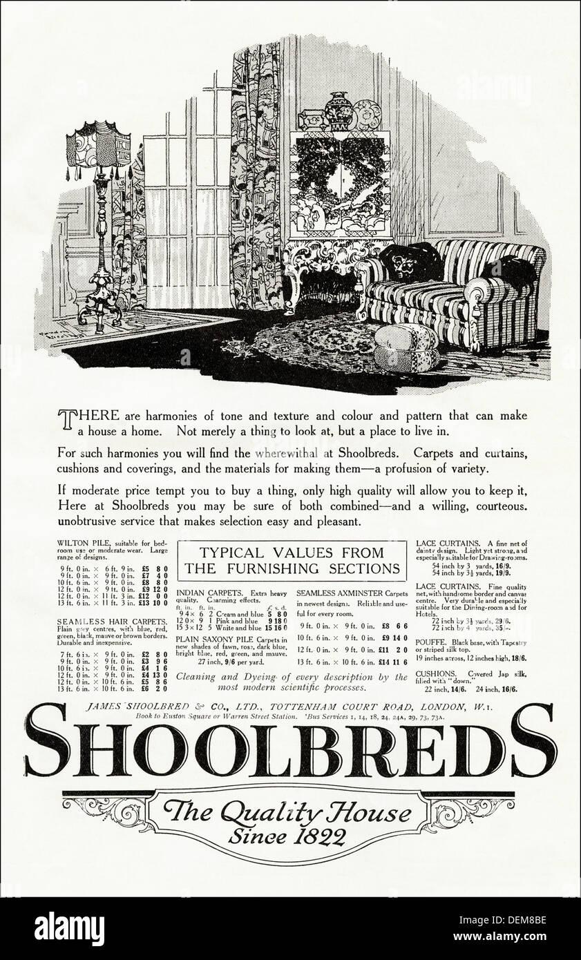 Original 1920s advertisement advertising SHOOLBREDS house furnishings, consumer magazine advert circa 1924 Stock Photo