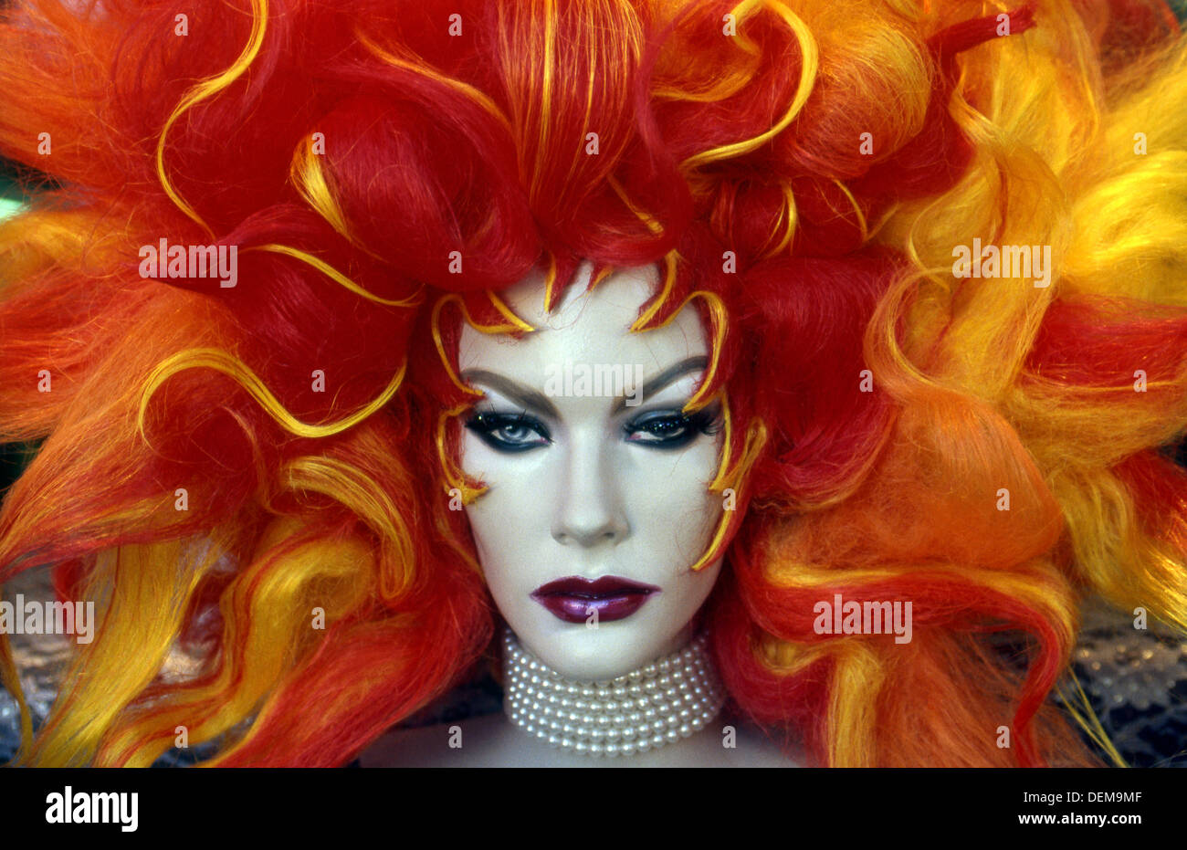 Colorful wig on mannequin in wig shop window on Hollywood Blvd Stock Photo