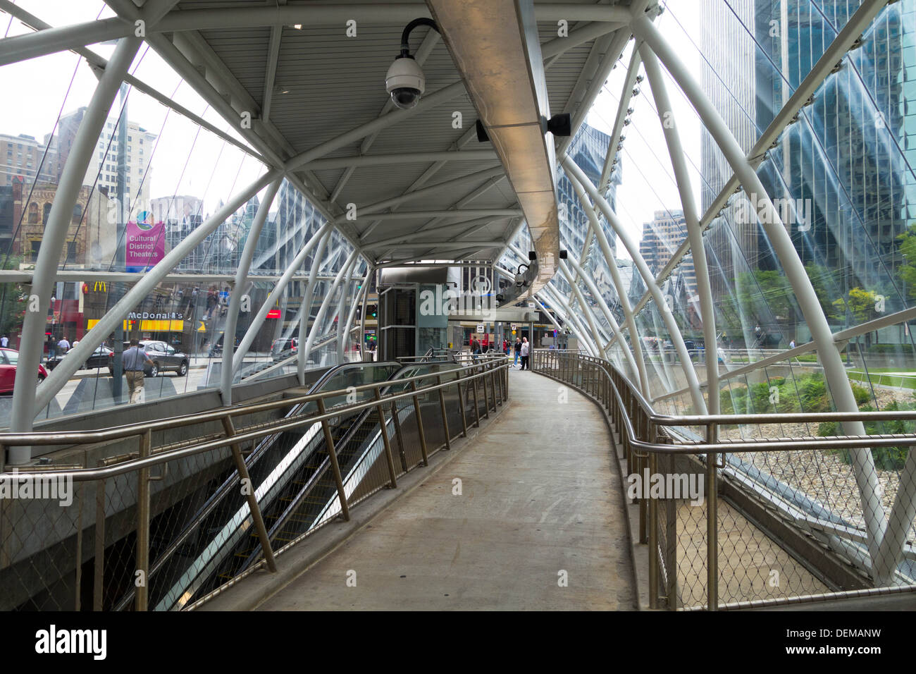 Glass and arched mass transit station, Gateway Center, downtown Pittsburgh, Pennsylvania - Stock Image