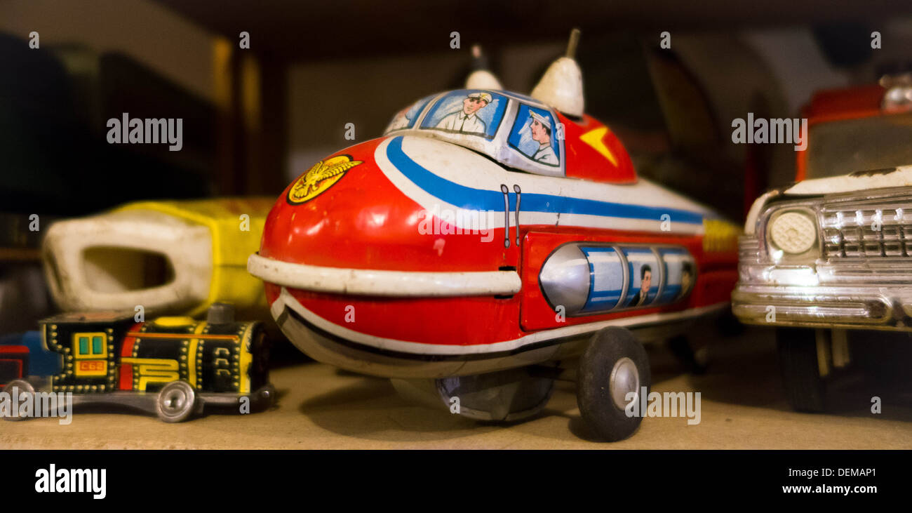 Vintage toy blimp car and truck in a Pittsburgh antique shop - Stock Image