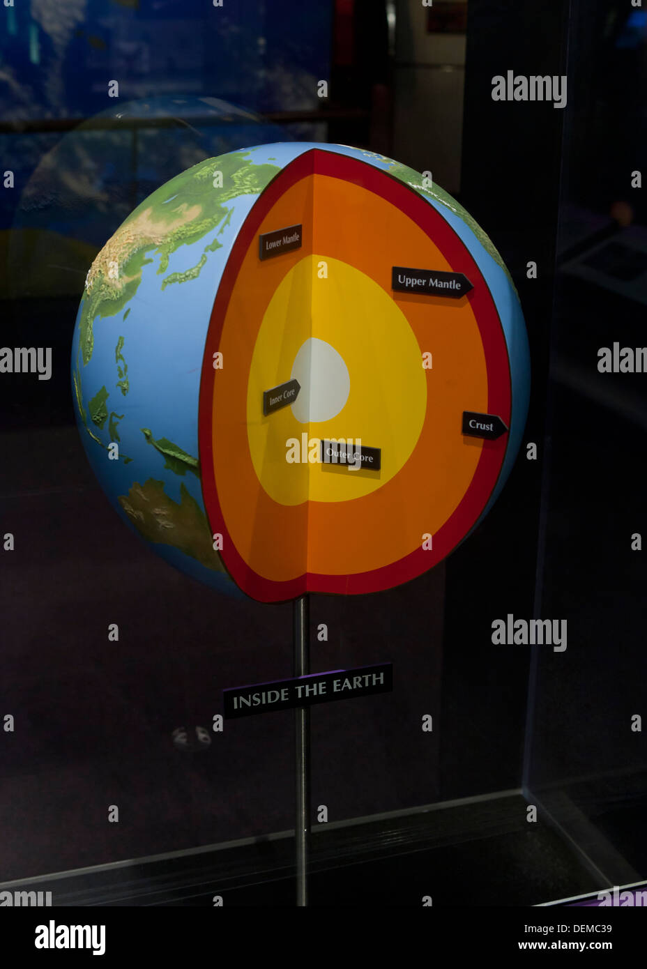 Layers of the earth cutaway display at science museum - Stock Image