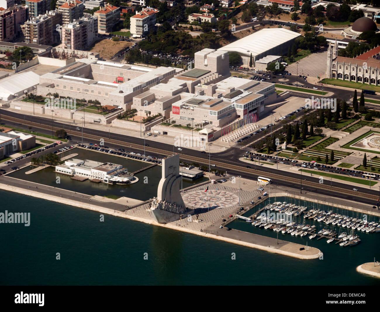 Centro Cultural de Belém and Padrão dos Descobrimentos in Belém, Lisbon, Portugal - Stock Image