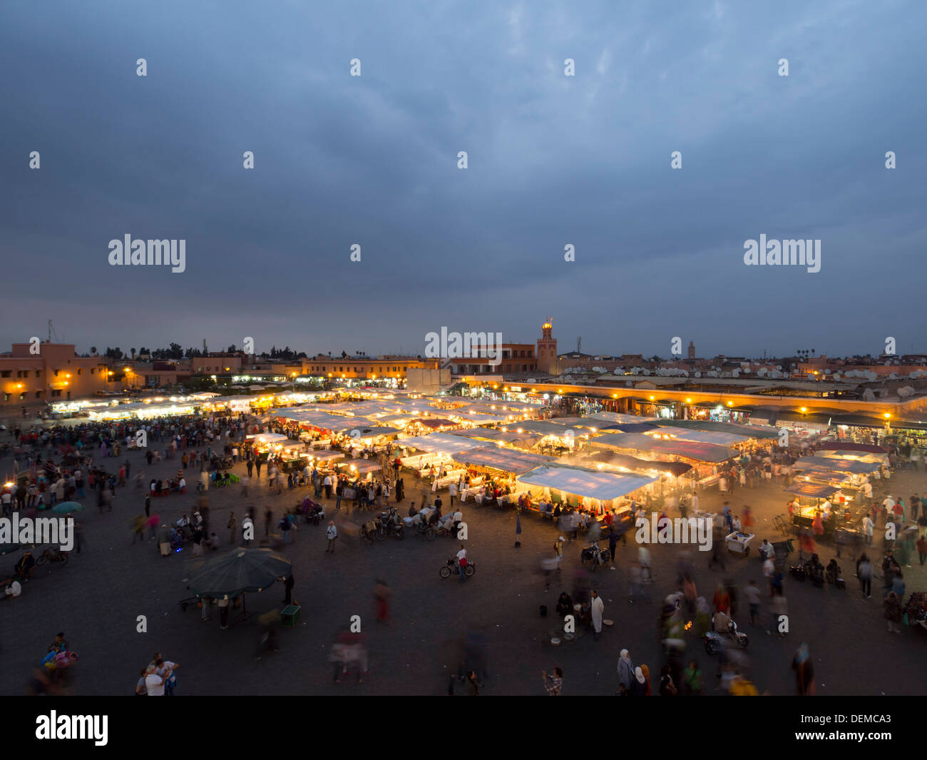 Food courts at Djemma el Fna square, Marrakech, Morocco Stock Photo