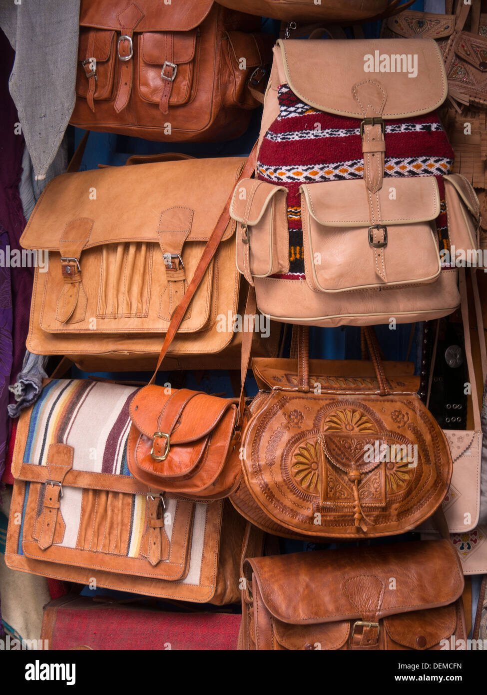 Leather bags, purses and backpacks for sale - Stock Image