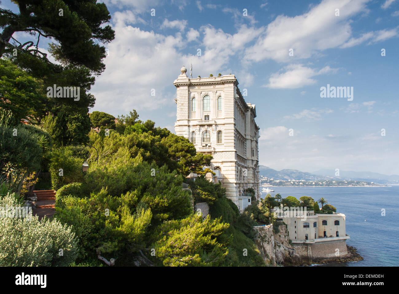 Coastline of Monaco overlooked by the Oceanographic Museum, Monaco - Stock Image