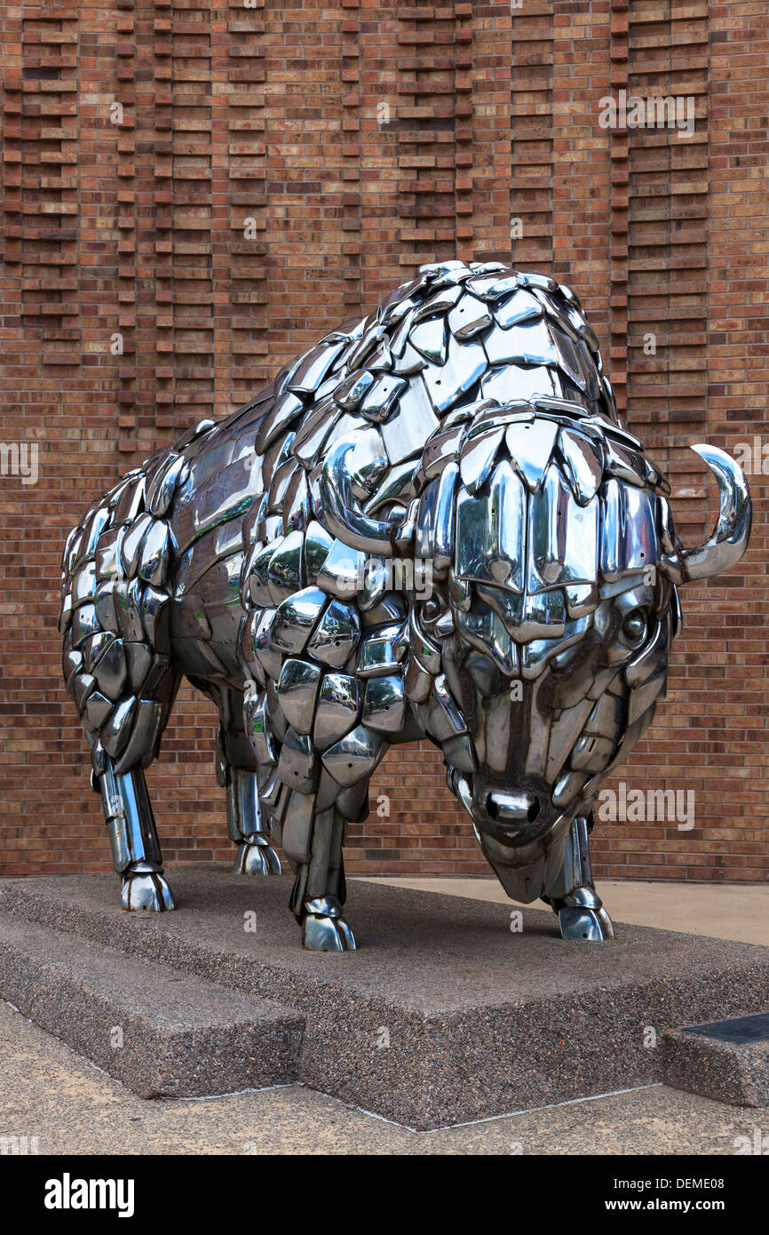 Statue of a bison made from automobile chrome parts Stock Photo