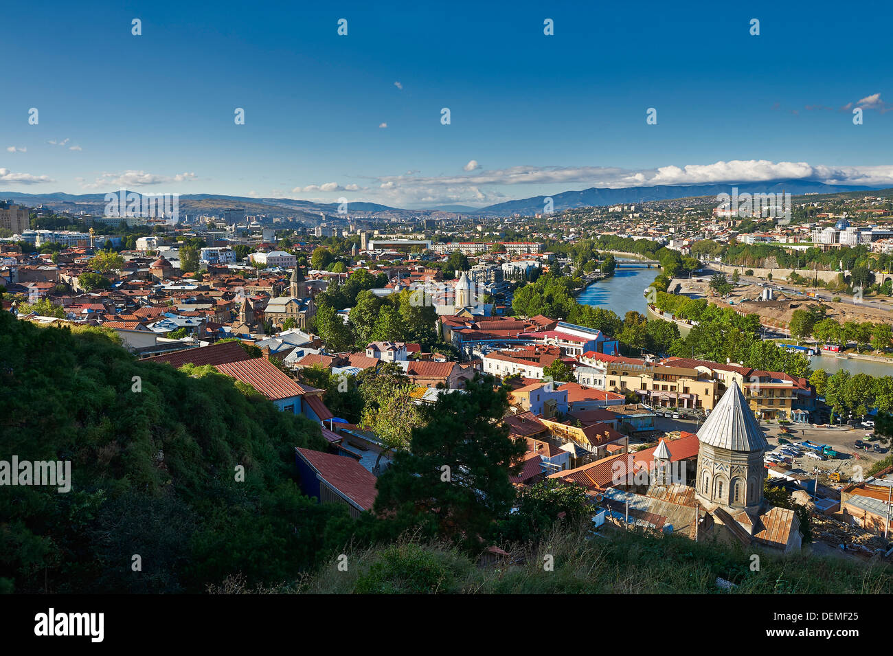 view from above, Narikala Fortress, onto Tbilisi, Georgia - Stock Image