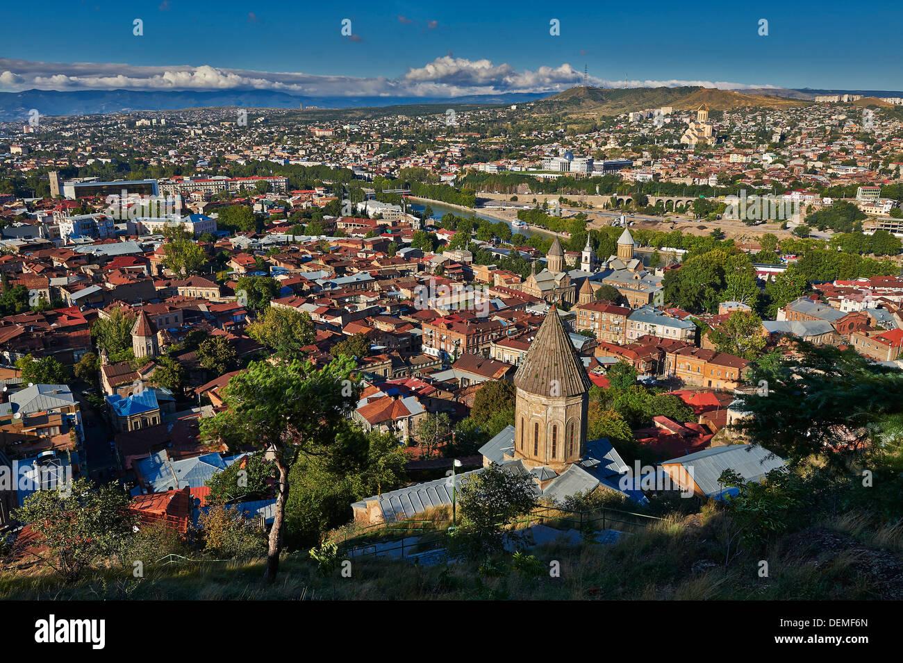 view from above, Narikala Fortress, onto Tbilisi, Georgia Stock Photo