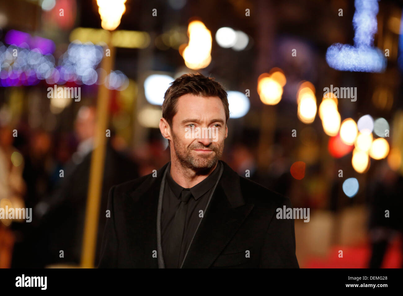 Australian actor/cast member Hugh Jackman arrives for the world premiere of Les Miserables at The Odeon Leicester Square in Lond - Stock Image